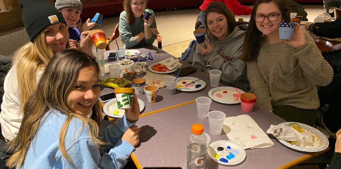 Students Painting Flower Pots