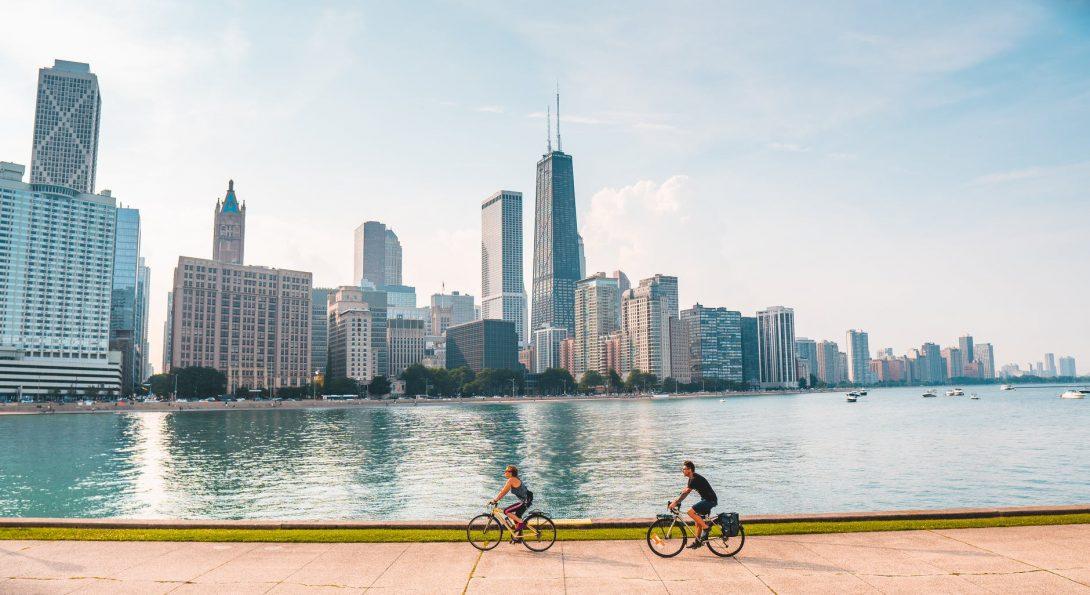 Chicago skyline along lakeshore path