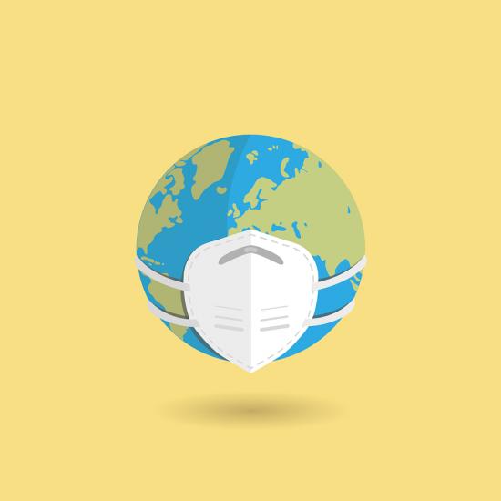 Globe with medical mask