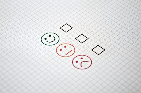 checklist with happy, neutral, and sad faces